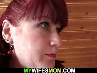 Mother-in-law frolicking before fuck-stick railing