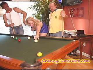 Nasty GRANNY gets CREAMED at POOL HALL