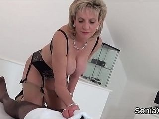Unfaithful english cougar female sonia showcases off her phat milk cans