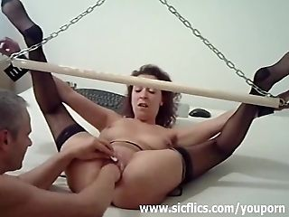 Extreme amateur wife fisted in bondage
