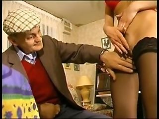 Young french blonde jerks off old mature cock