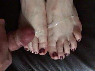 Jism on wife's soles