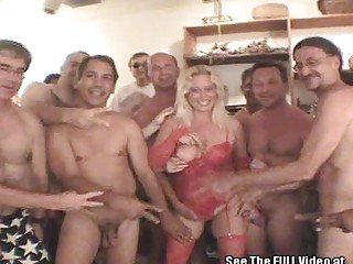 Blonde mature Darian calls Dirty D for a bukkake party