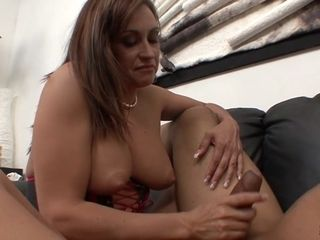 Claudia Valentine & Sledge hit in Claudia Valentine wanks Off Sledge hit's giant dick - WankMyWood