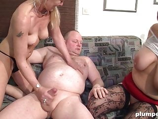 Obese and lean matures have a filthy German 3some