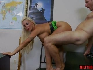 Giant mammaries cougar making out with man-lava shot