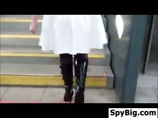 Sexy Stockings Being Teased In Public