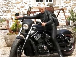 Hot leather granny biker