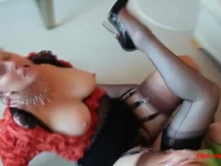 Hot doyenne lesbians strapon riding