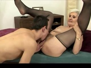 Grey haired grandma in pantyhose poked