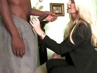 Gorgeous businesswoman pays a gifted black male prostitute