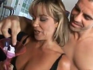 Mature domme gets group-fucked and creampied