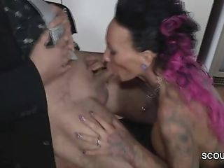 Tattoo and Big Tit MILF Seduce to Fuck by German Chef in Office