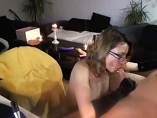 Hot wife with big tits masturbates for and sucks husband
