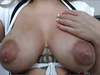 Lactating pointy nipples on mom blond