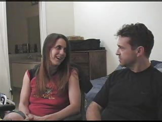 Adult stepbrother and stepsister having fun