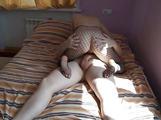 Russian amateur wife in fishnet fucks with her hubby (Part1)