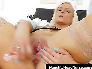 Stunning milf medic fingering pussy in the inquiry chair
