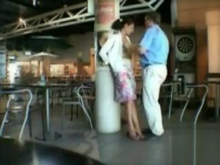 Spouse frigs his cute wifey in public
