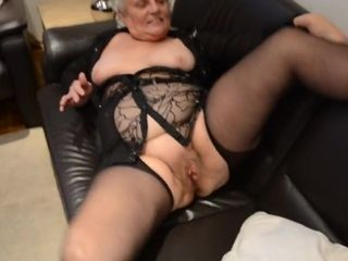 Elder grandma in nylons