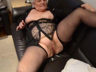 Elder grandma in nylons
