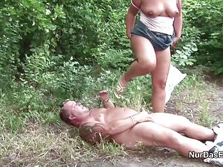 German MILF Mom Seduce to Fuck Outdoor by Young Boy