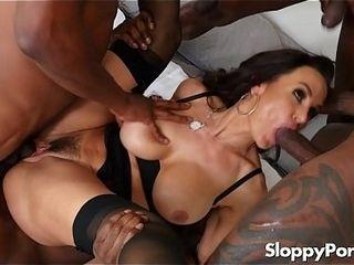 Lisa Ann multiracial group sex