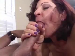 Insatiable granny take good-sized dick sucky-sucky and guzzles jism