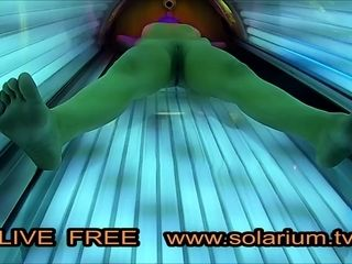 Covert webcam in Public Solarium molten super-naughty chick tugging and finger-banging on Real Solarium