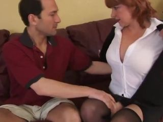 Titillating redhead MILF fucked with an increment of jizzed