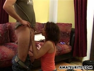 German first-timer cougar fellates and rails with internal cumshot
