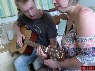 Nasty grannie Wanna nail youthful Guitar Player