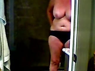 Naked wife out of the shower hidden camera
