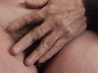 Young guy licking very hairy mature pussy