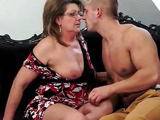 Young muscular man fucks chubby granny