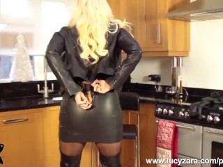 Chesty towheaded cougar Lucy Zara in all leather milks playing her raw twat