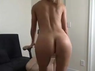 Ash-blonde cougar undressing