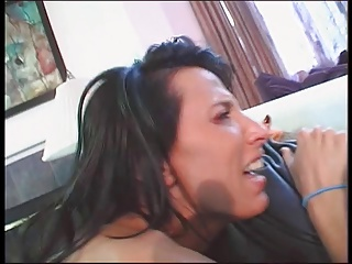 Dude licks b-cup brunette's pierced cunt then slides in his cock